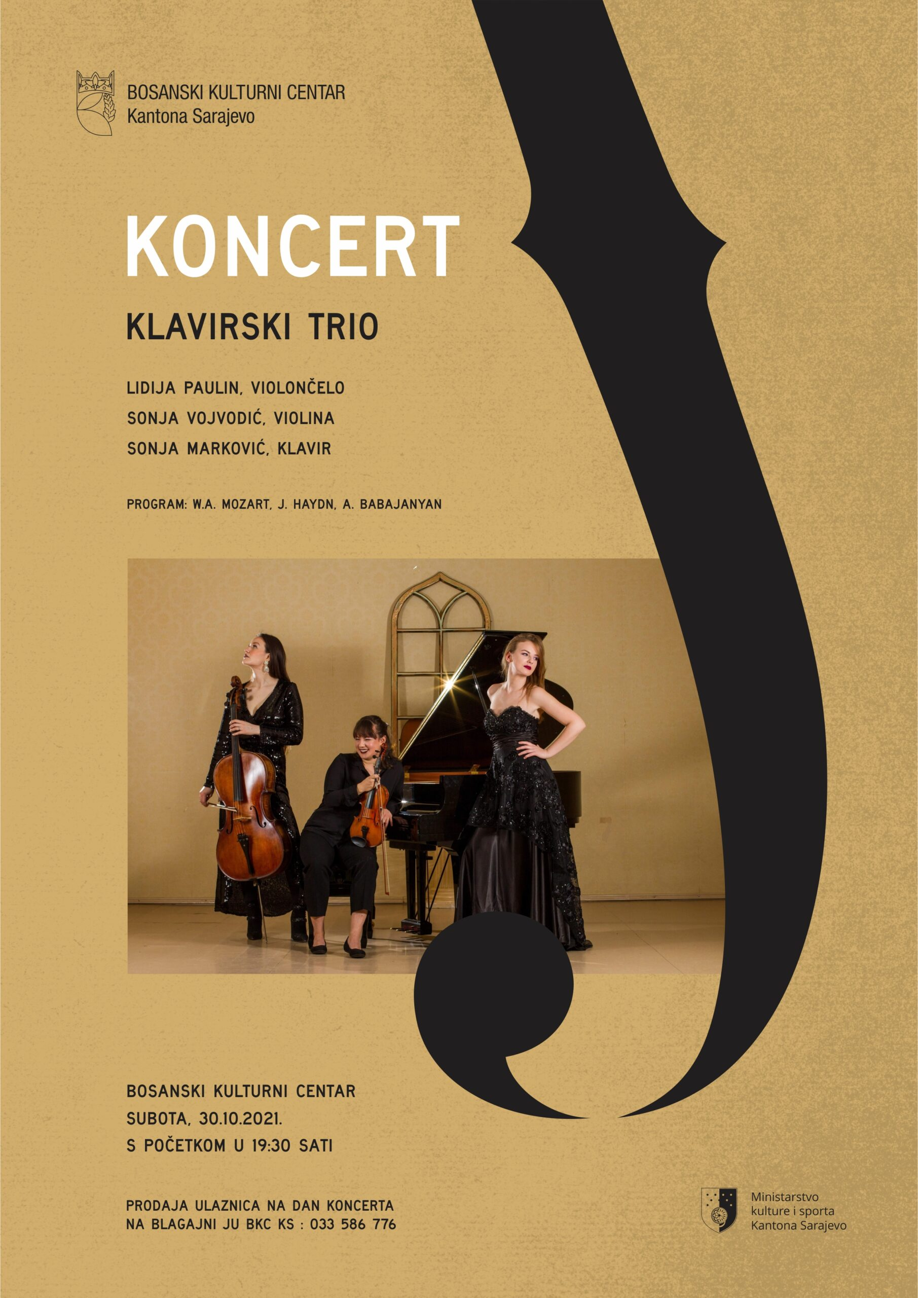 KLAVIRSKI TRIO: LIDIJA PAULIN, violončelo, SONJA VOJVODIĆ, violina i SONJA MARKOVIĆ, klavir, 30. 10. 2021.