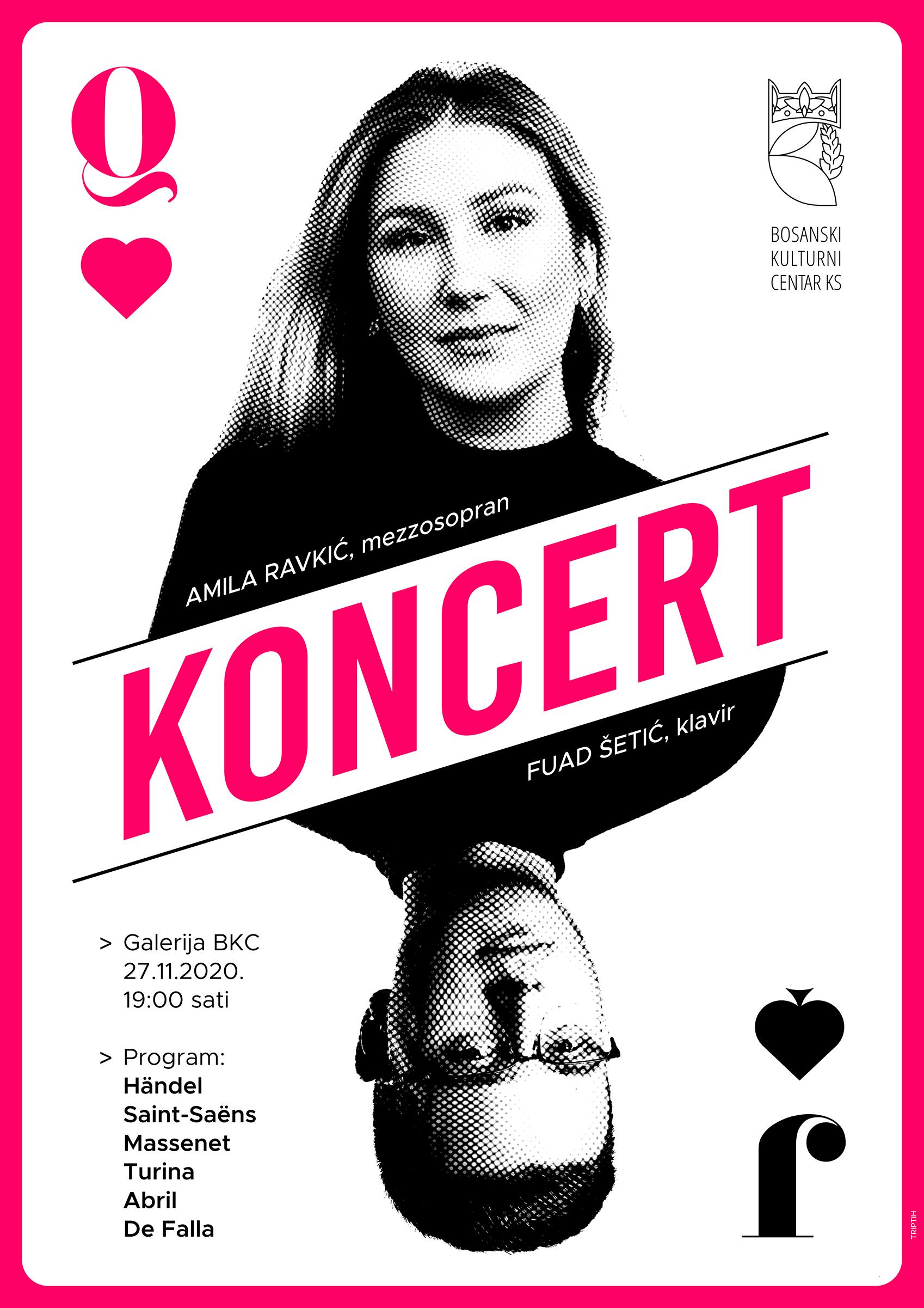 Koncert za glas i klavir, Amila Ravkić, mezzosopran, Fuad Šetić, klavir, 27. 11. 2020. JU BKC KS