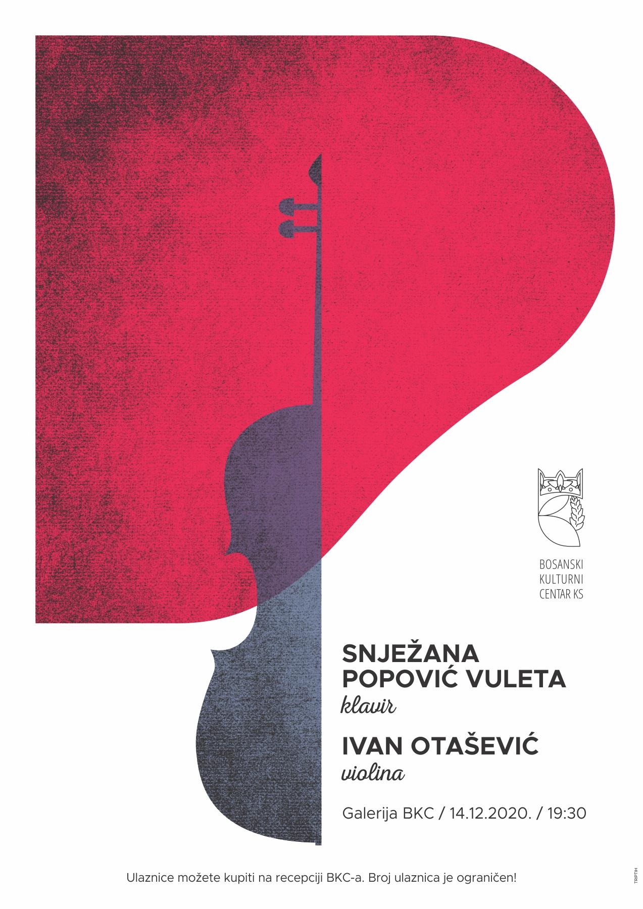 Koncert: Ivan Otašević, violina i Snježana Popović-Vuleta, klavir, 14. 12. 2020. u 19, 30 sati