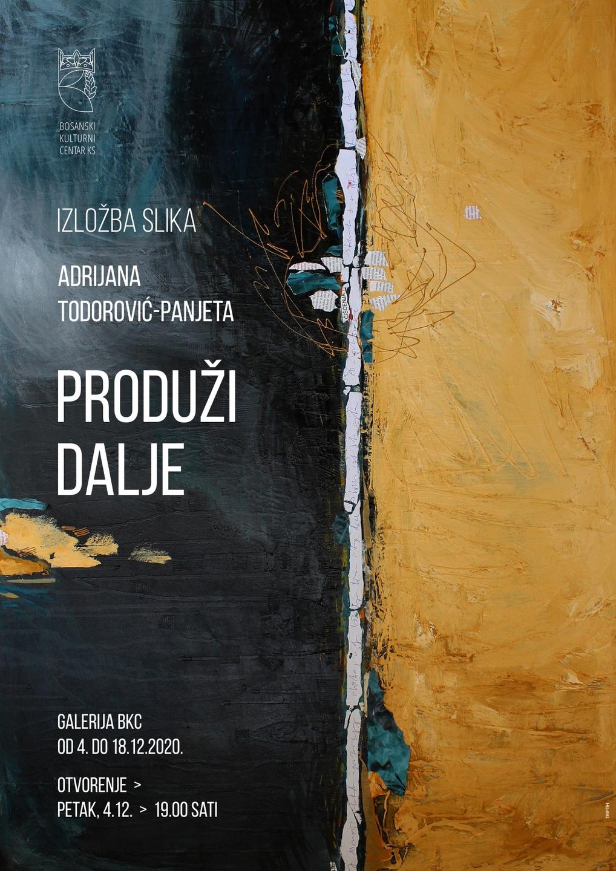 Izložba akademske slikarke Adrijane Todorović – Panjeta od 04. do 18. 12. 2020. u Galeriji JU BKC KS
