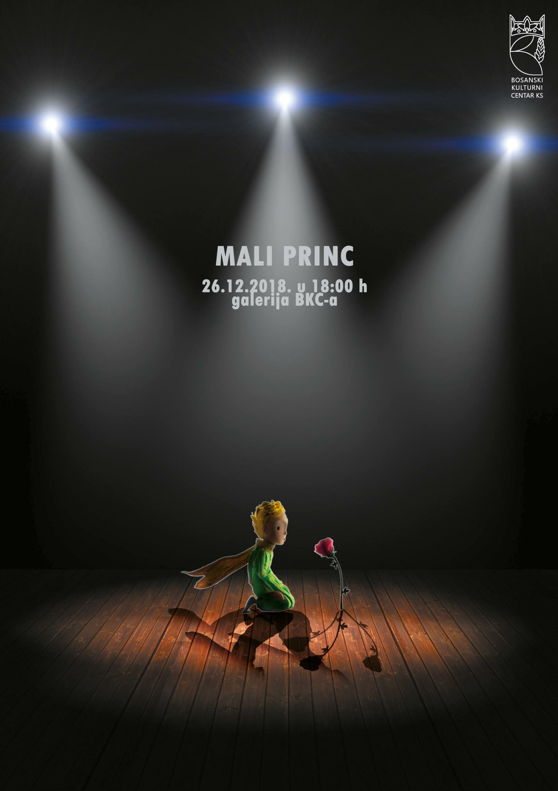 """""""Škola glume"""" premijerno će izvesti predstavu """"Mali princ"""", u srijedu, 26. 12. 2018. god. u galeriji BKC-a, sa početkom u 18:00 časova."""